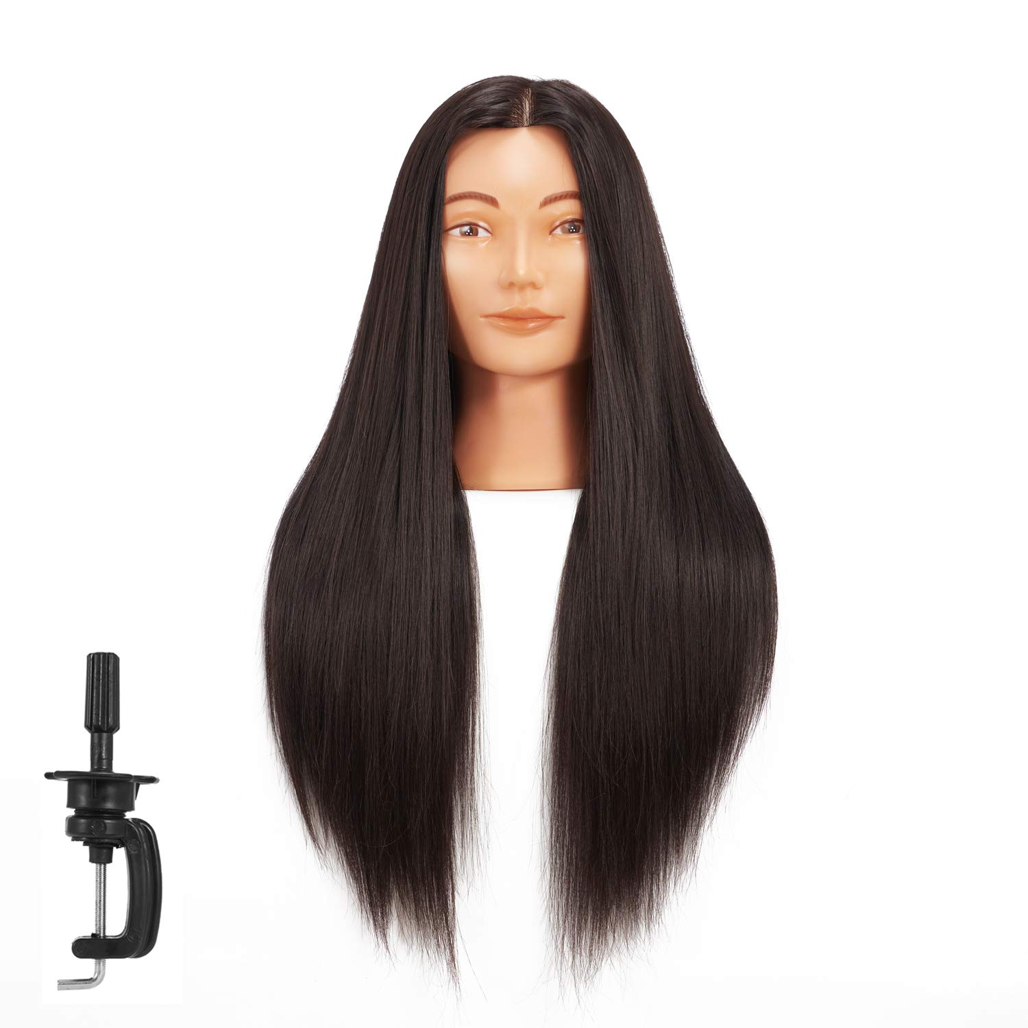 Amazon Com Hairginkgo Mannequin Head 26 28 Super Long Synthetic Fiber Hair Manikin Head Styling Hairdresser Training Head Cosmetology Doll Head For Cutting Braiding Practice With Clamp 92019d0220 Beauty