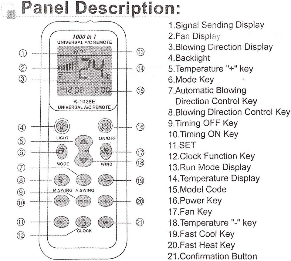 Weiye - Mando a distancia para aire acondicionado (LCD, 1000 en 1, para Mitsubishi Toshiba Hitachi FUJITSU Daewoo LG Sharp Samsung ELECTROLUX SANYO): Amazon.es: Hogar