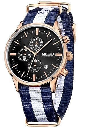 De cuarzo de los hombres de la manera correa de lona Megir relojes de pulsera: Amazon.es: Relojes