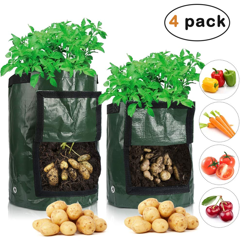 Garden Potato Grow Bags Potato Planter Bags with Flap and Handles Plant Grow Bags for Planting Vegetables Tomato and Flower Green 2 Pack 10 Gallon and 2 Pack 7 Gallon