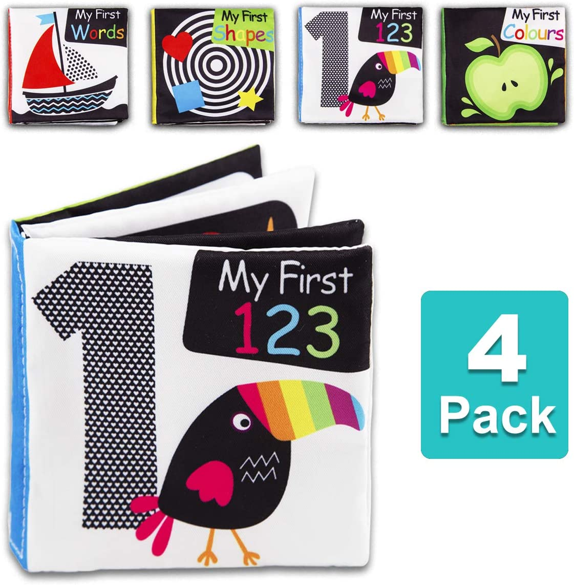 Words LinLin Baby First Soft Activity Cloth Book Set High Contrast Black and White Interactive Crinkle Soft Book Bundle for Infant Shapes Colors Baby Early Education for Brain Development with Numbers
