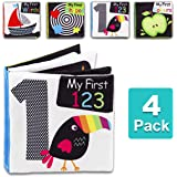 Baby First Soft Activity Cloth Book Set, High Contrast Black and White Interactive Crinkle Soft Book Bundle for Infant…