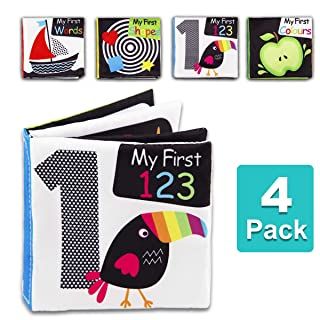 Baby First Soft Activity Cloth Book Set, High Contrast Black and White Interactive Crinkle Soft Book Bundle for Infant, Baby Early Education for Brain Development with Numbers, Words, Shapes, Colors