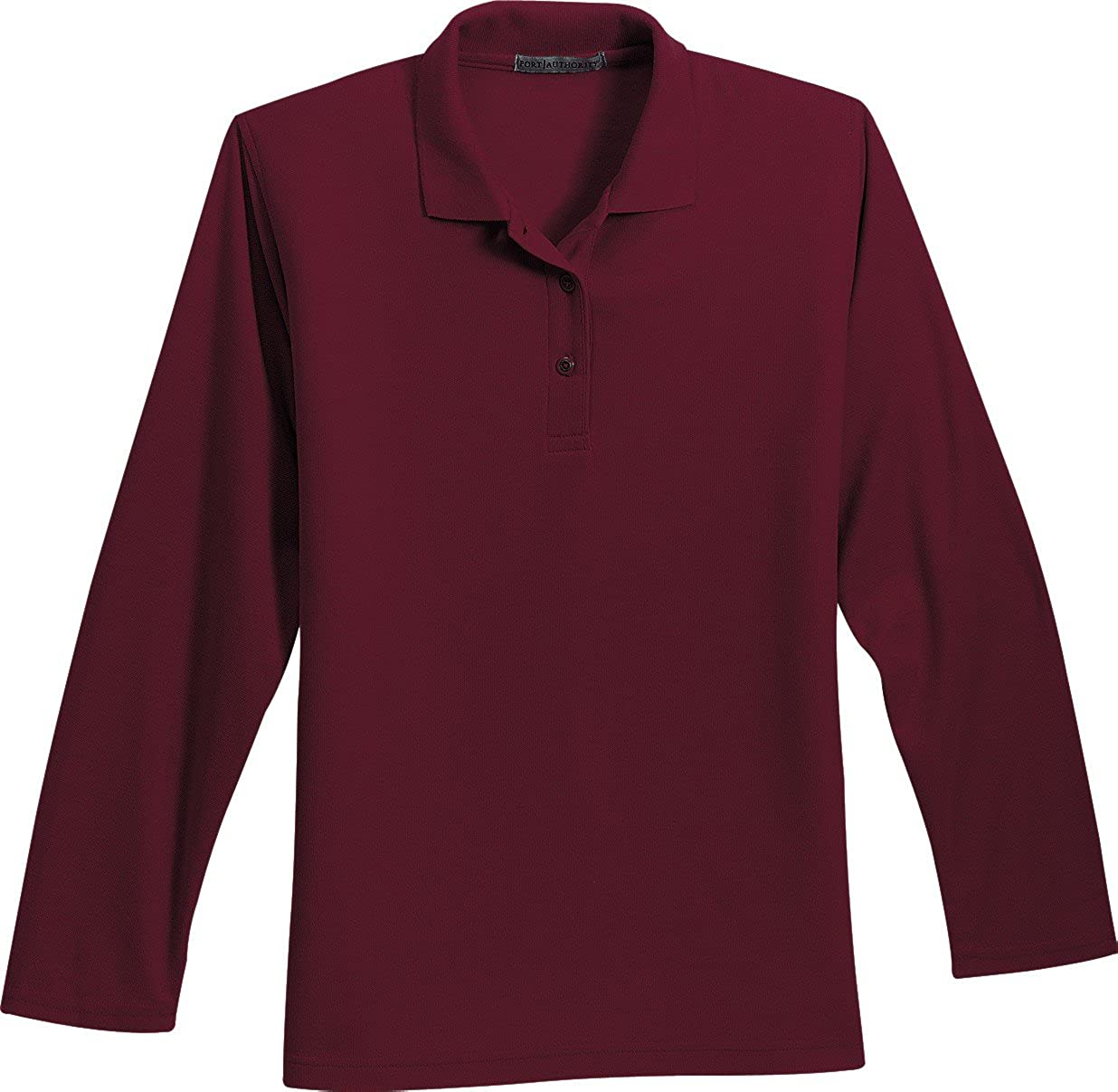 Port Authority-Ladies Silk Touch Long Sleeve Sport Shirt. L500LS-Burfundy...