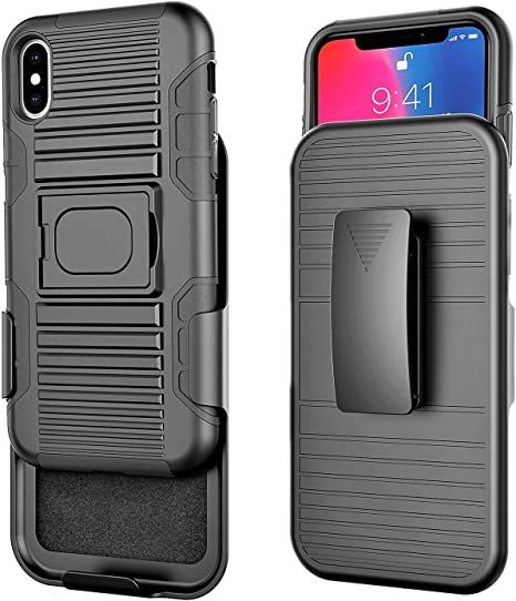 Slimshield Series Ultra Slim Protective Cover with Holster Clip for Apple iPhone Xs MAX Phone Encased iPhone Xs MAX Belt Clip Holster Case Smooth Black