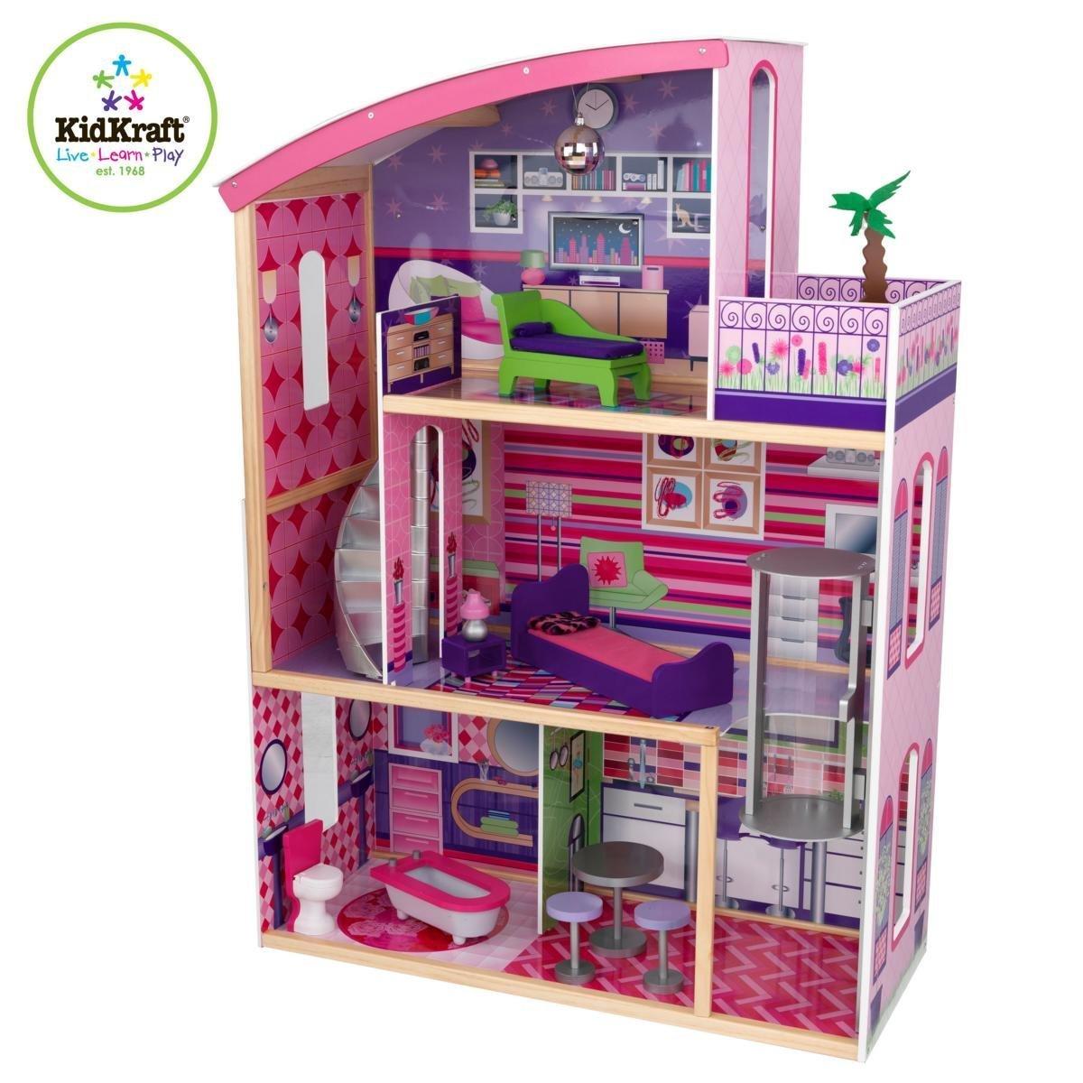 Kids craft doll house - Amazon Com Kidkraft Wooden Modern Dream Glitter Dollhouse Fits Barbie Toys Games
