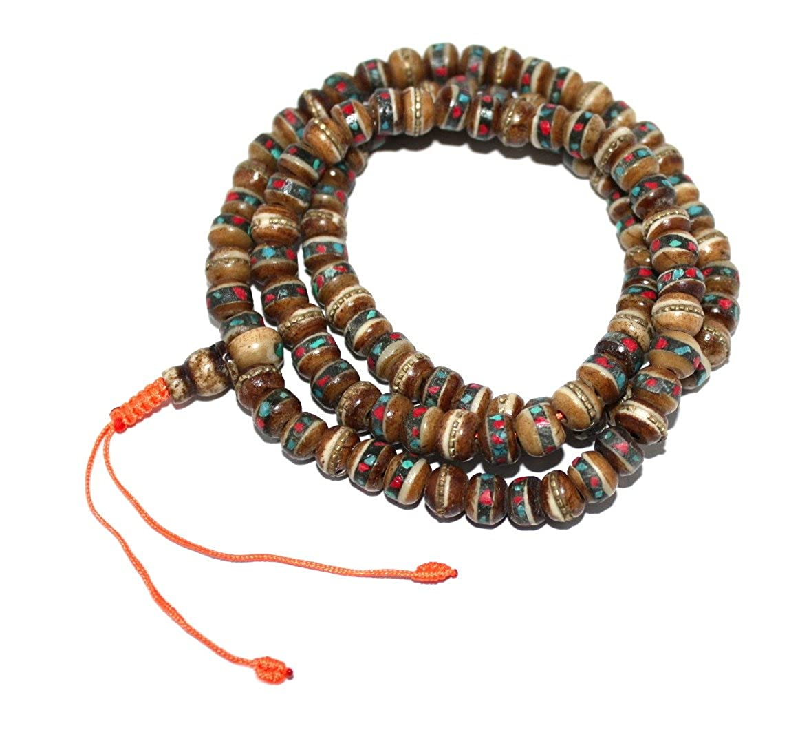 Amazon.com: Boho necklace Tibet Prayer beads Brown Tibetan ...