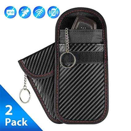 Enjoyee 2 Pack Faraday Car Key Fob RFID Signal Blocking Protector Cage with a Keychain for Anti-Theft and Anti-Hacking Faraday Bag