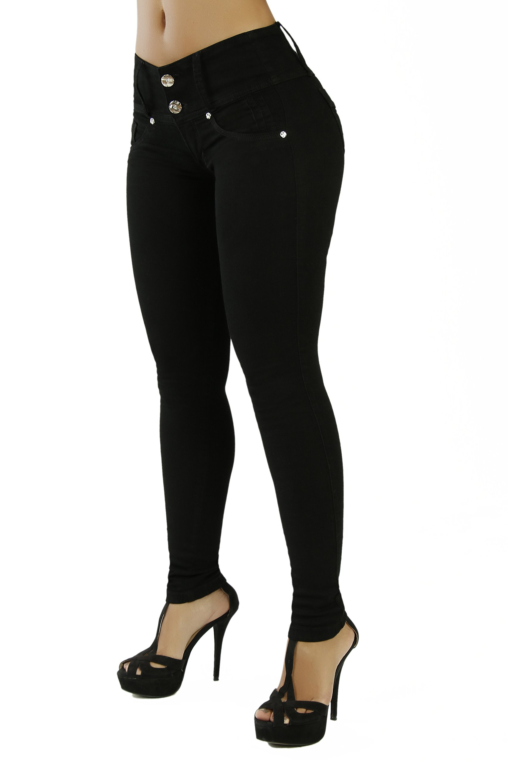 Curvify High Waisted Butt Lifting Slimming Jeans for Women - Skinny Stretch Jean 766(766, Black, 7) by Curvify (Image #1)