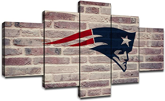 New England Patriots Picture Frame NFL Team Logo Wall Decor Art Paintings 5 Piece Canvas Artwork Living Room American Football Prints Poster Decoration Wooden Framed Ready to Hang(60''Wx32''H)