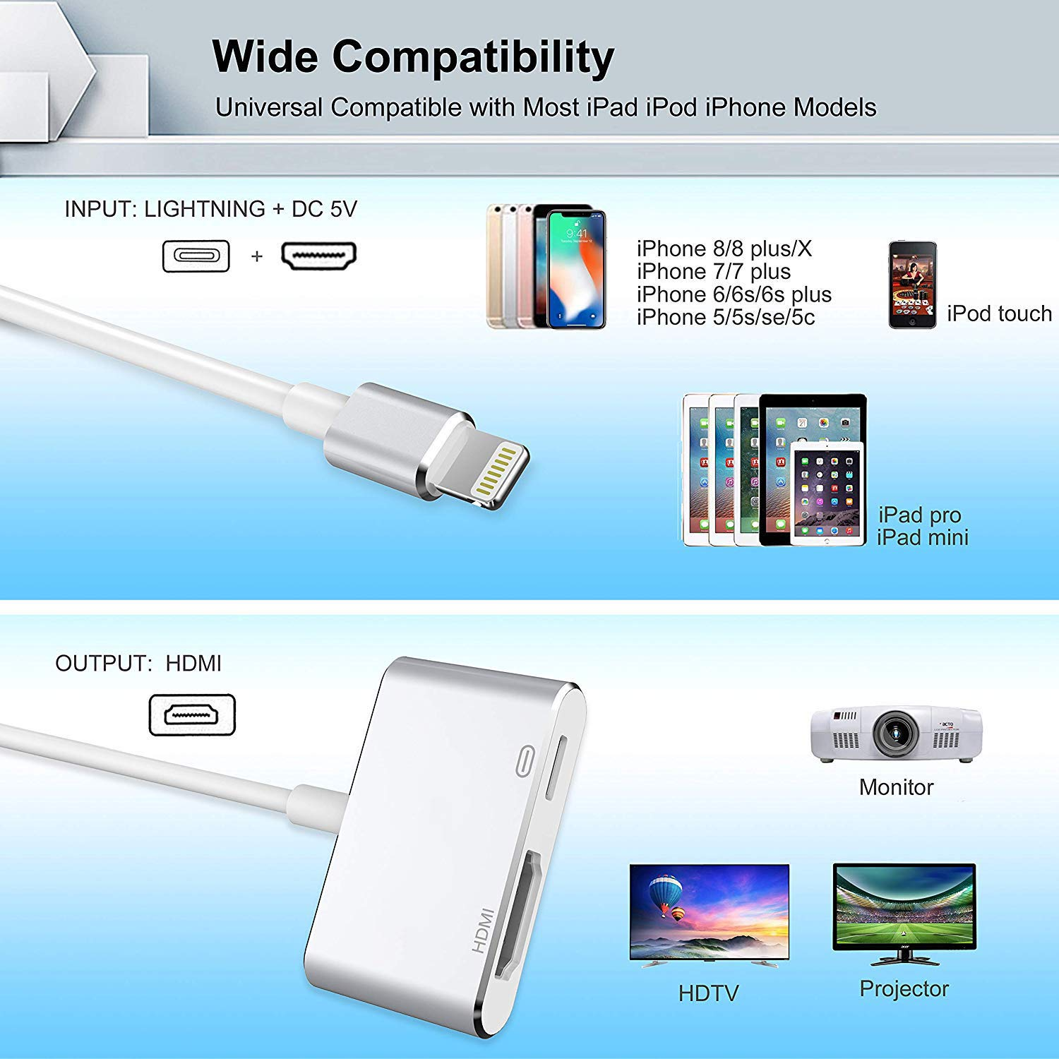 Digital HDMI Adapter Converter New Edition 2 in 1 Plug and Play Digital AV Connector Compatible for iPhone X//XS//XS MAX//XR,iPhone 8//7//Plus iPad iPod