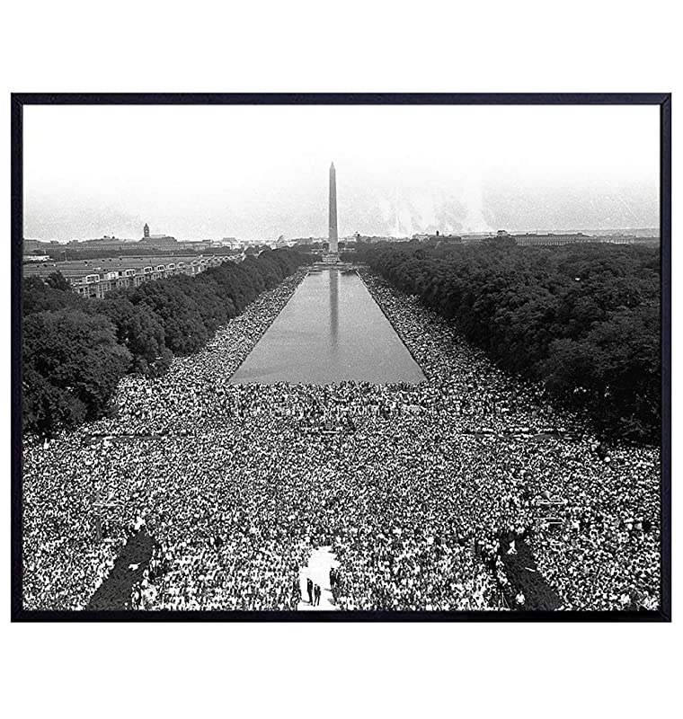 Martin Luther King, MLK Civil Rights March on Washington Decor - Black Wall Art - African American History - Gift for Men, Women, Teachers, Classroom - Famous Vintage Picture Photograph Photo