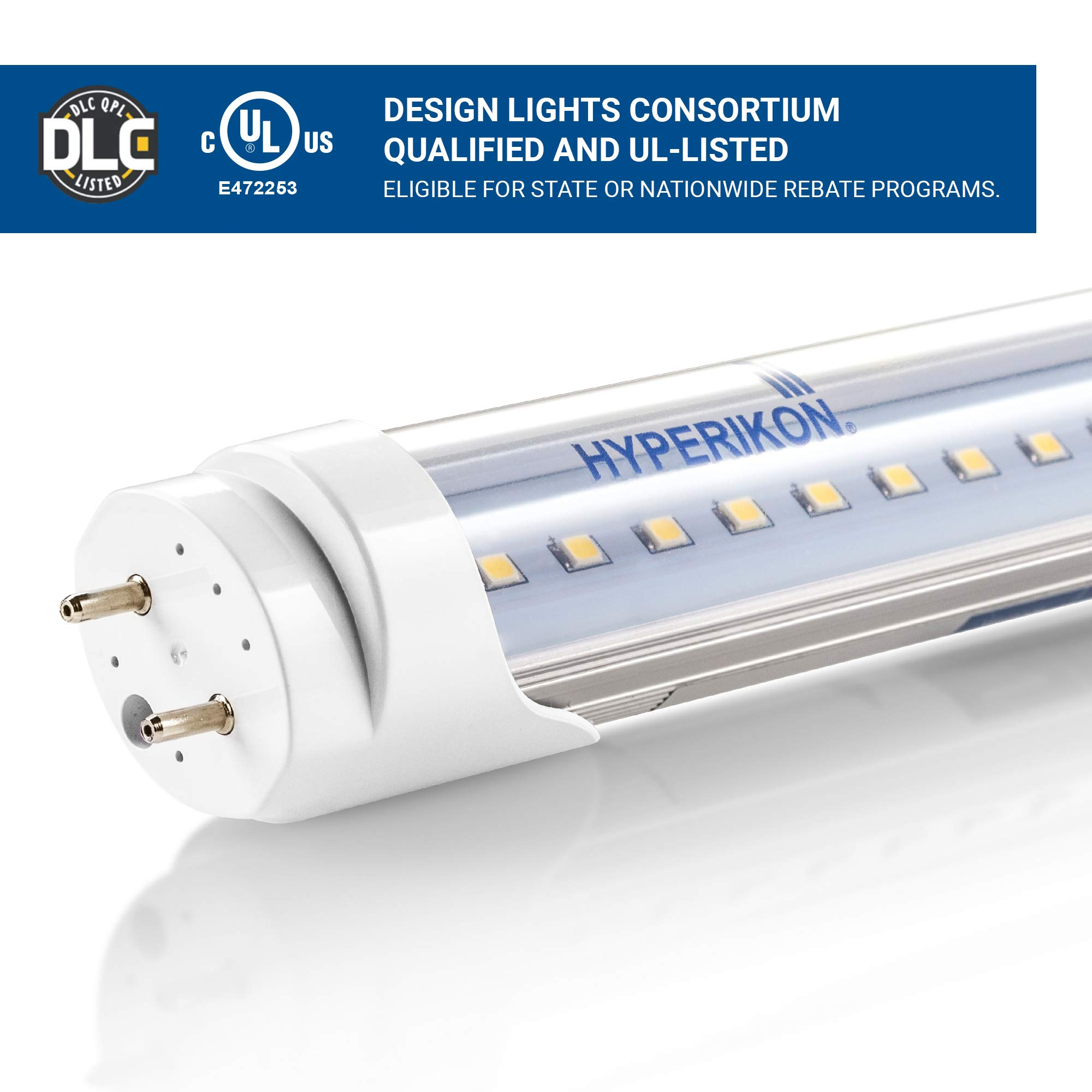 Hyperikon T8 T10 T12 LED Light Tube, 4FT, Dual-End Powered, Easy Ballast Removal Installation, 18W (48W Equivalent), 2340 Lumens, 6000K (Super Bright White), Clear Cover, DLC & UL - (4 Pack) by Hyperikon (Image #5)