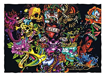 Ed Hardy Collage 7 X 5 Polyester Wall Banner