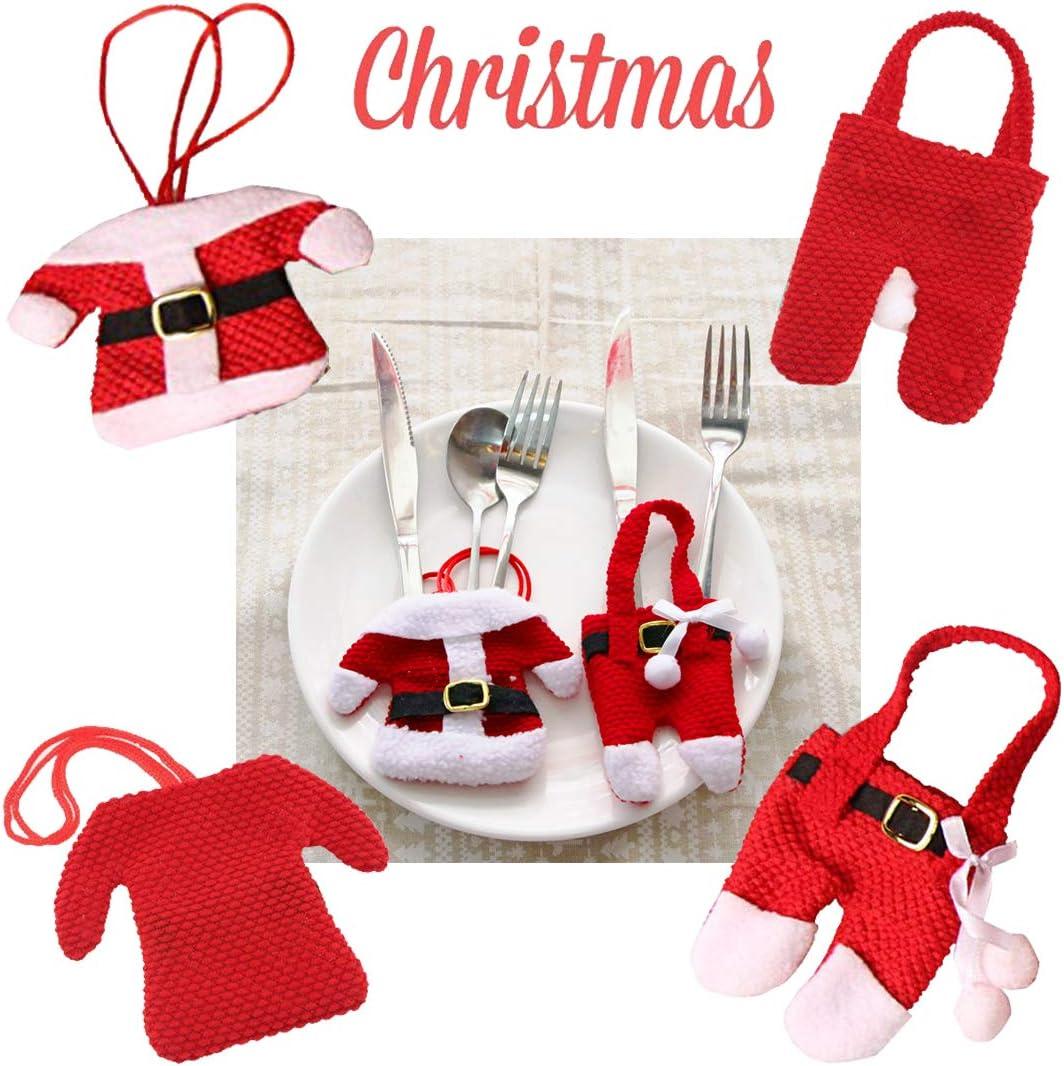 6PCS Santa Suit Christmas Silverware Holder Pockets Red Kitchen Cutlery Bag Santa Suit Dinner Flatware Holders