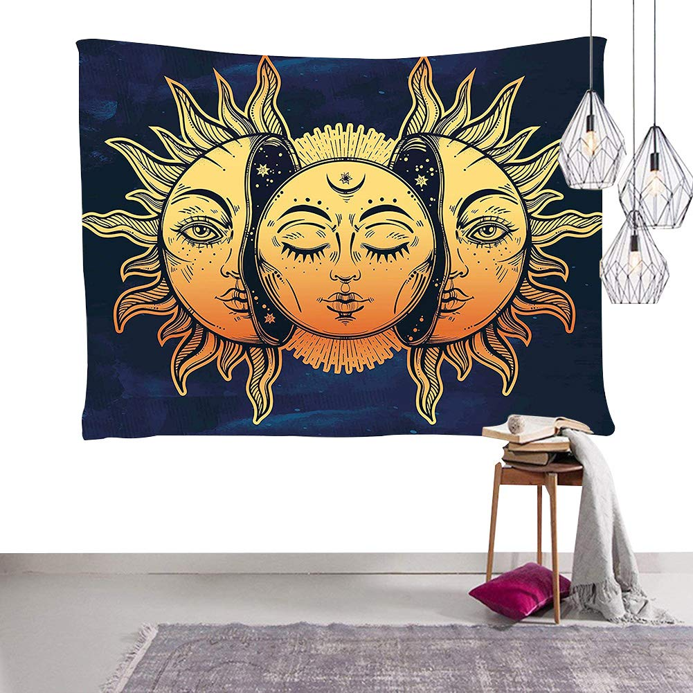 Dremisland Pineapple Printed Tapestries Wall Art Hanging Bohemian Tapestry Wall Hanging Throw (Face)