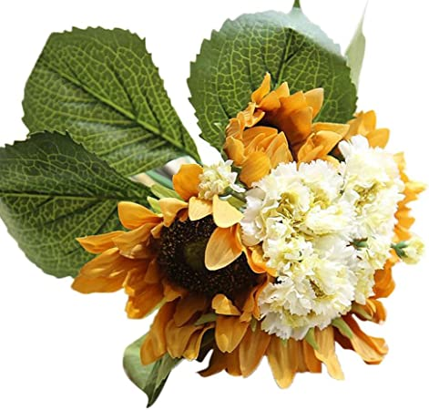 hlhn falsa Artificial girasol floral decoración Bonsai para oficina hogar escritorio cuadros jardín boda ramos al aire libre fiesta: Amazon.es: Hogar