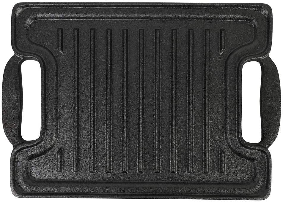 Plancha de Hierro Fundido Rectangular con Rayas Reversible, Grill Asador Portátil con 2 Asas para Grill and Griddle Combo BBQ 36 x 25 x 2cm Negro