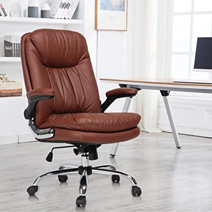 Gentil YAMASORO Ergonomic Office Desk Chair With Flip Up Arms And Comfy Headrest  PU Leather High