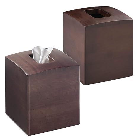 mDesign Juego de 2 cajas de pañuelos con forma cuadrada – Práctico dispensador de pañuelos para