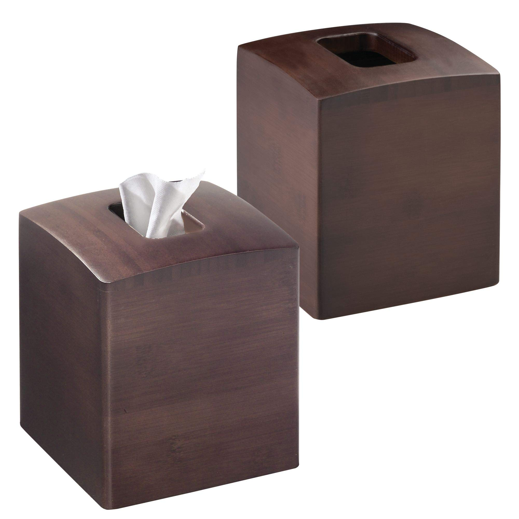 mDesign Square Wood Bamboo Facial Tissue Paper Box Cover Holder for Bathroom Vanity Counter Tops, Bedroom Dressers, Night Stands, Desks and Tables - Pack of 2, Espresso/Dark Brown Finish