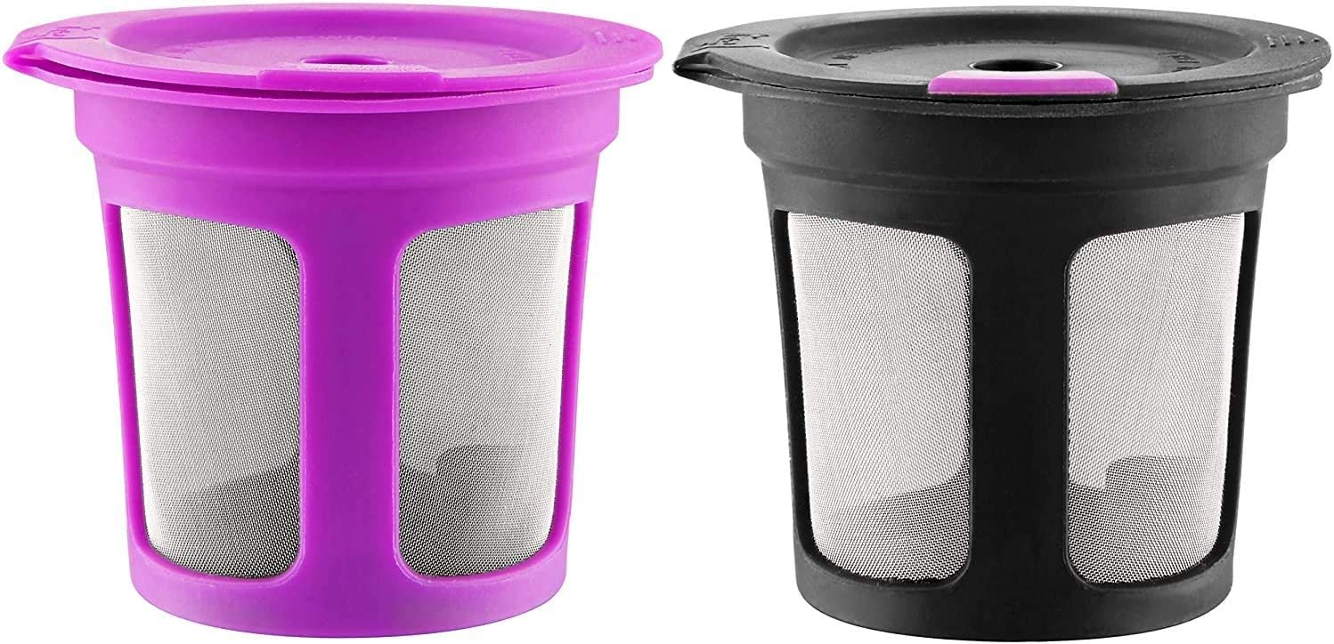 Purple /& Black Refillable Filter Pods Reusable Cups for Keurig K-Cup 2.0 Pack of 2 1.0 Coffee Maker