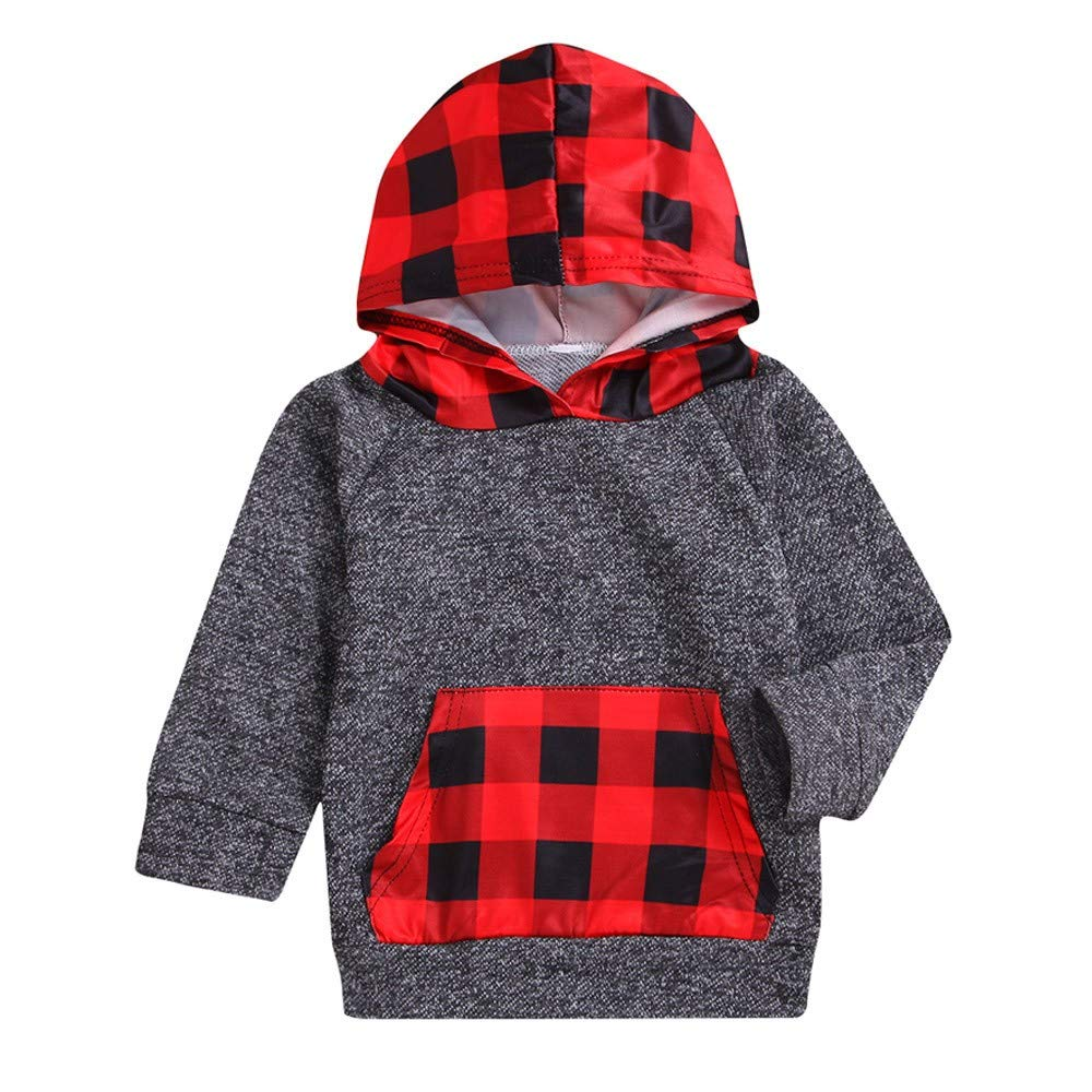 NUWFOR Toddler Baby Boys Girls Plaid Pockets Sweatshirt Hooded Pullover Clothes Tops(Red,18-24Months