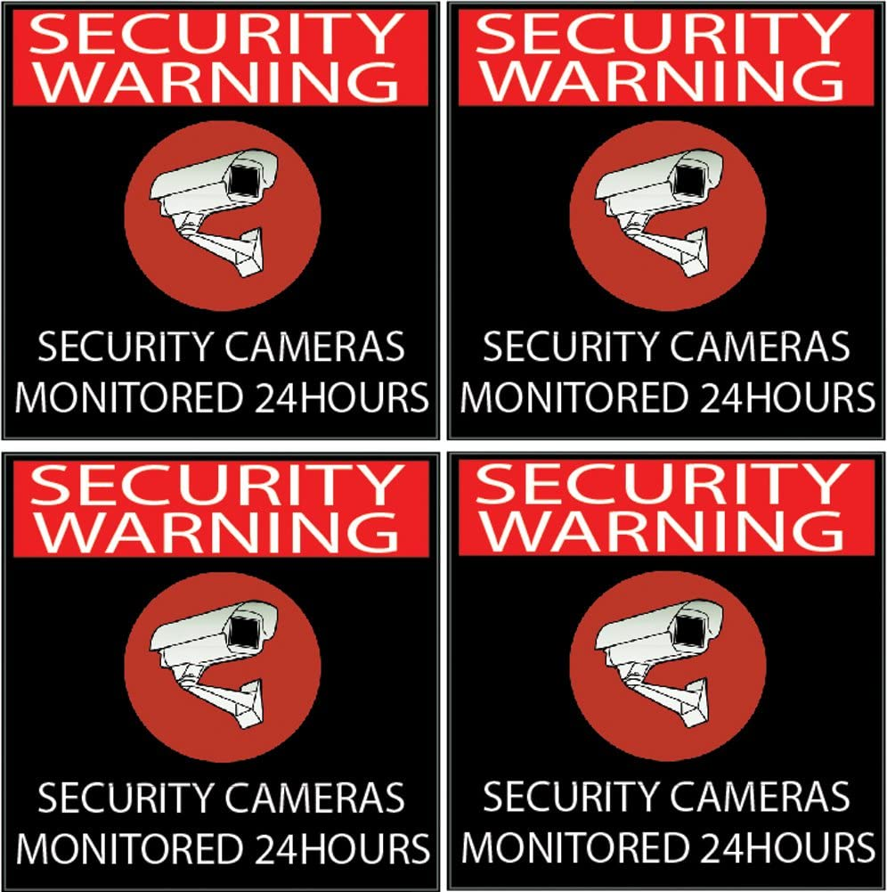 4 Pack Warning Security Video Camera Surveillance Monitored 24 Hour Sign Sticker Decal Window Door Indoor Outdoor (5x5 Black)