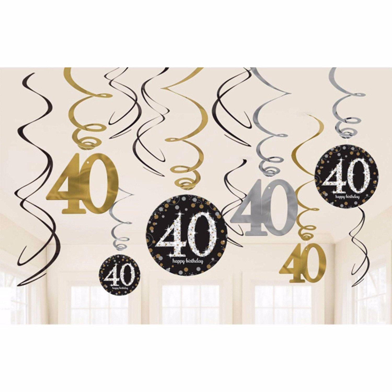 Celebrate 40 Hanging Swirls (3 packs of 12 swirls) by Amscan