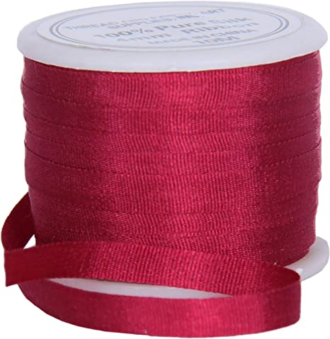 2 x 10 Metre Lengths of 26 mm Organza Ribbon Burgundy and Rose Pink