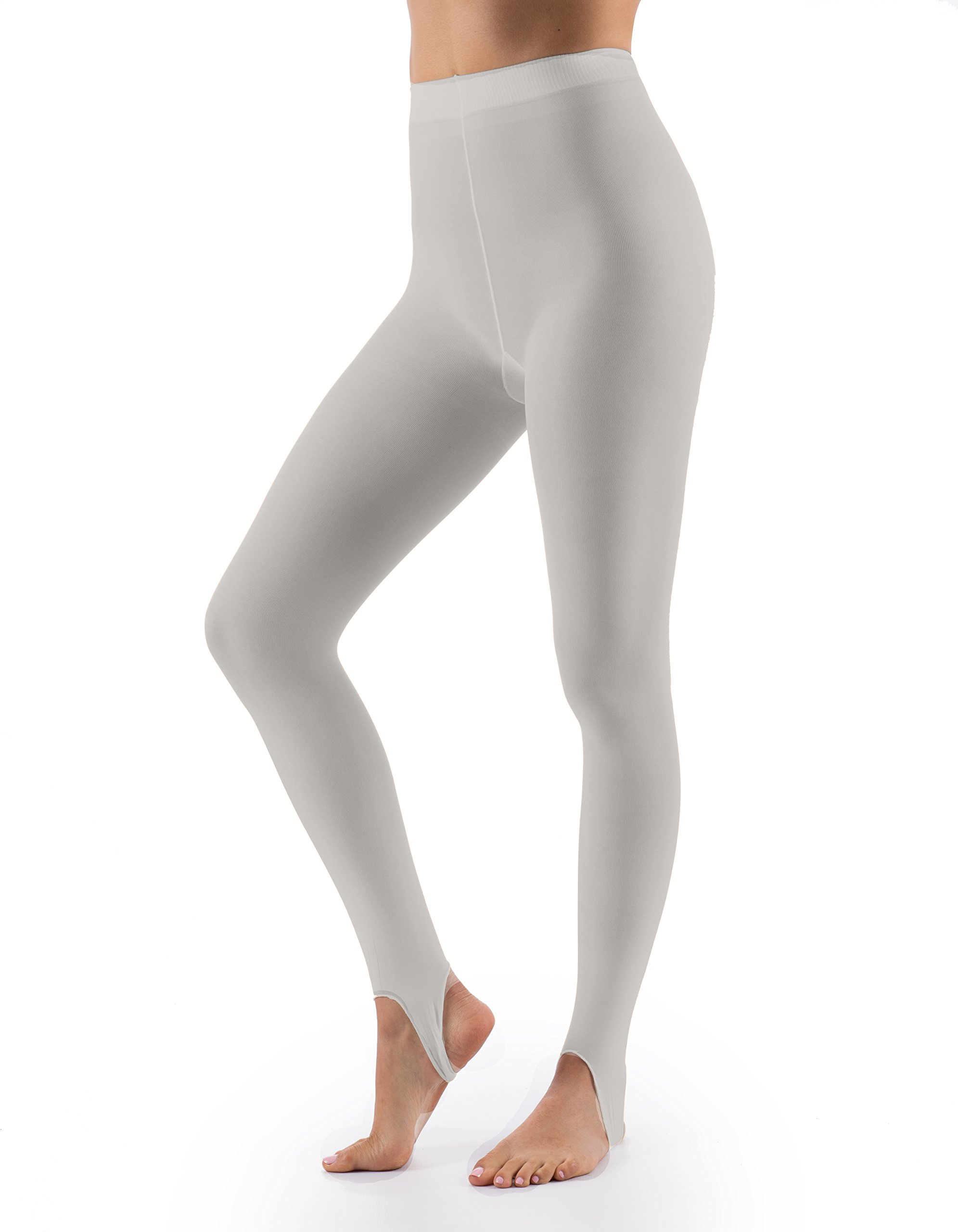 Grandeur Hosiery Women's Ladies Ultra Soft Stirrup Dance Ballet Tights Light Grey C