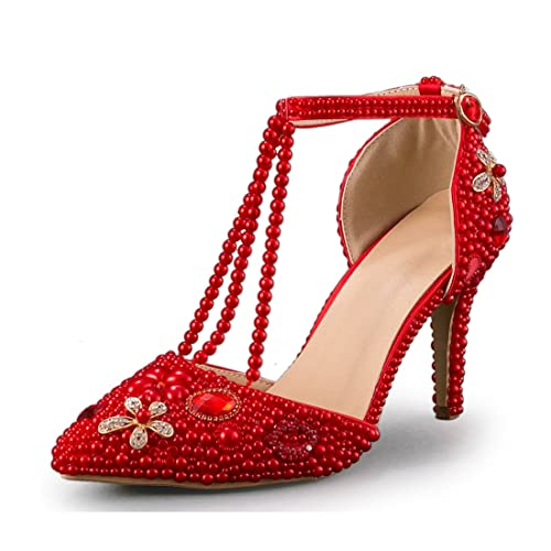 Minishion Women s T-Strap Pointed Toe Stiletto High Heel Crystal Red Wedding  Shoes ... 6dd7aa23200e