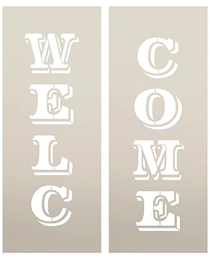 Large 48 Welcome Stencil For Painting On Wood Reusable Mylar Template Ideal For Diy Crafting Tall Vertical Patio Porch Signs Pallet Rustic