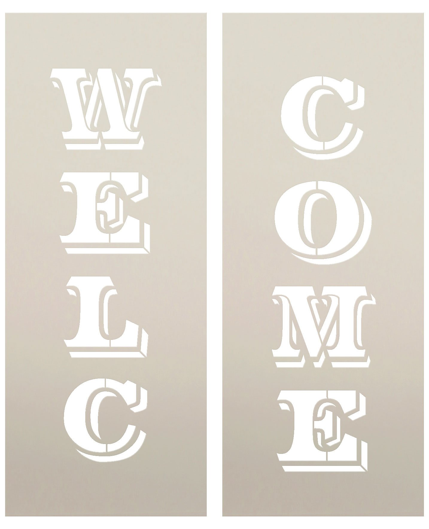 Large 48'' WELCOME STENCIL for Painting on Wood | Reusable Mylar Template| Ideal for DIY Crafting Tall Vertical Patio, Porch Signs - Pallet (Rustic Farmhouse Entrance Sign) 48'' x 12''