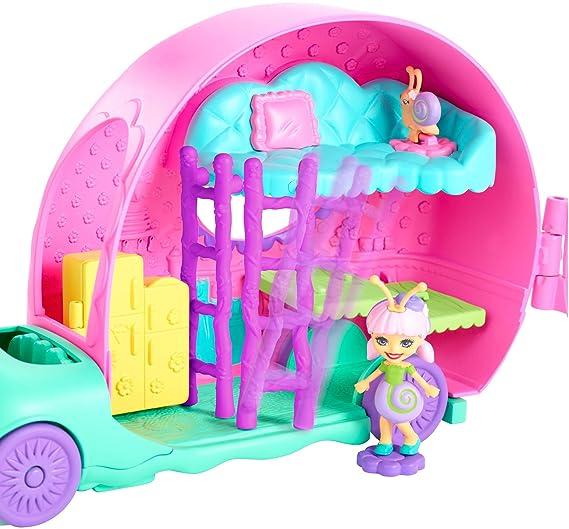Amazon.com: Enchantimals Saxon Snail Doll Slow-Mo Camper Vehicle Playset, Multicolor: Toys & Games