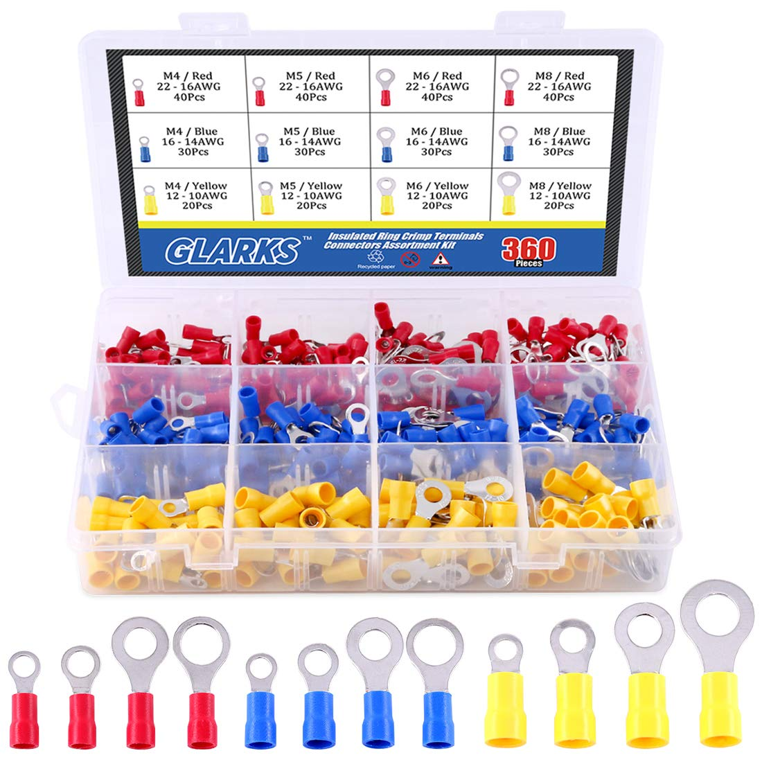 Glarks 360pcs 22-16/16-14/12-10 Gauge Mixed Quick Disconnect Electrical Insulated M4 / 5/6 / 8 Ring Crimp Terminals Connectors Assortment Kit by Glarks