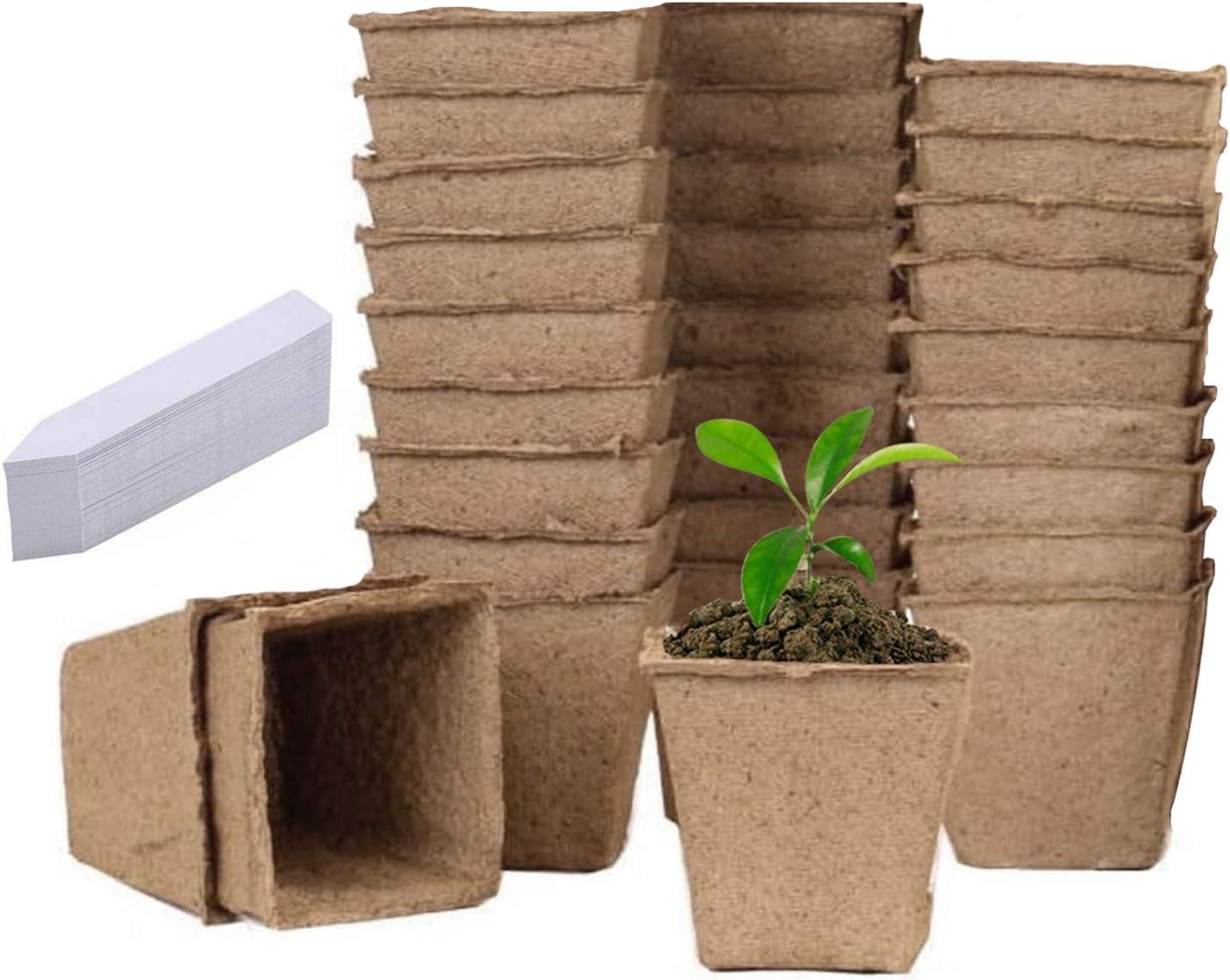 Semilleros De Germinacion Biodegradables, Germinador De Semillas, Semilleros Huerto Invernadero Pequeño Bandejas para Semilleros Terraza Set Jardineria (B-Cuadrado, 30pc)