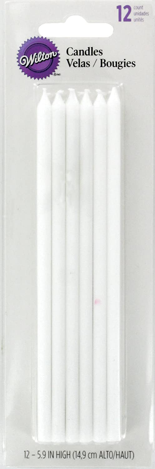 Wilton W2811773 Birthday Candles, 5.875-Inch, White, 12-Pack
