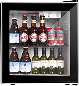 COOLLIFE Beverage Refrigerator Cooler - 60Can Mini Fridge with Reversible Glass Door for Beer Soda or Wine-1.6cu.ft. Small Drink Center Dispenser Perfect for Office/Basements/Home Bar