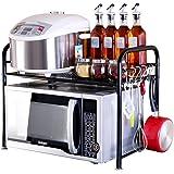Microwave Oven Shelf, YIFAN Dish Rack Kitchen Organizer Counter Cabinet Storage Shelf - Black