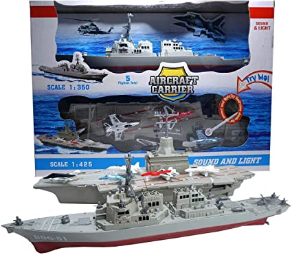 Ailejia Aircraft Carrier Toy Warship Vehicle Diecast Battleship Military Ship Model Pull Back Toy with Lights and Sounds