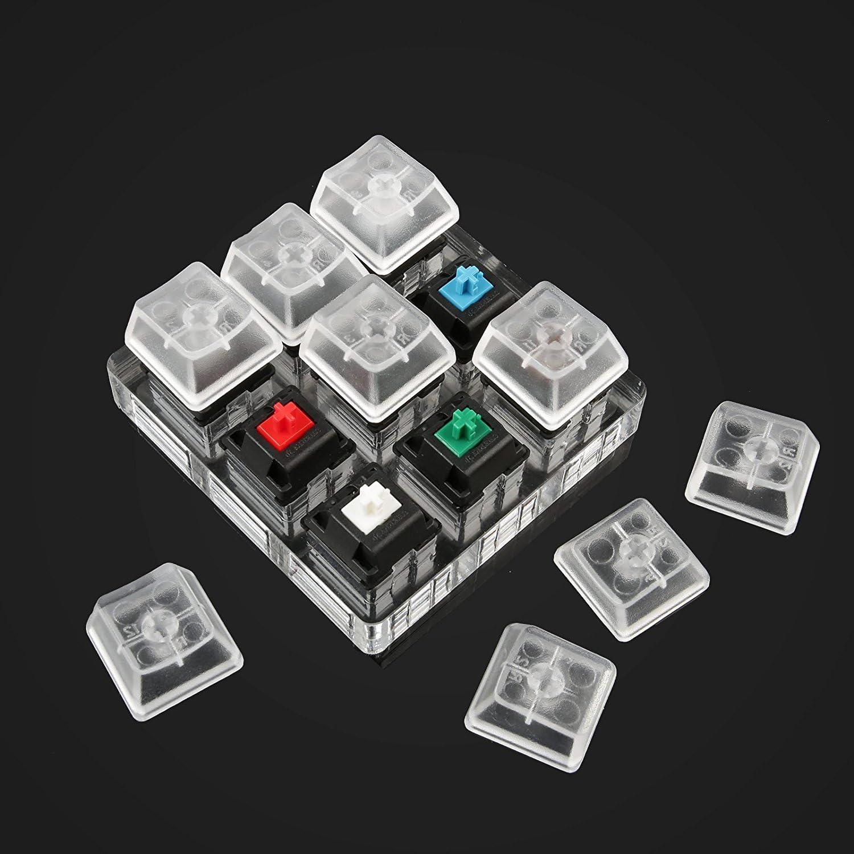 Finetoknow Keyboard Keypad 1 Pcs Acrylic Keyboard Tester 9 Clear Plastic Keycap Sampler for Cherry MX Switches