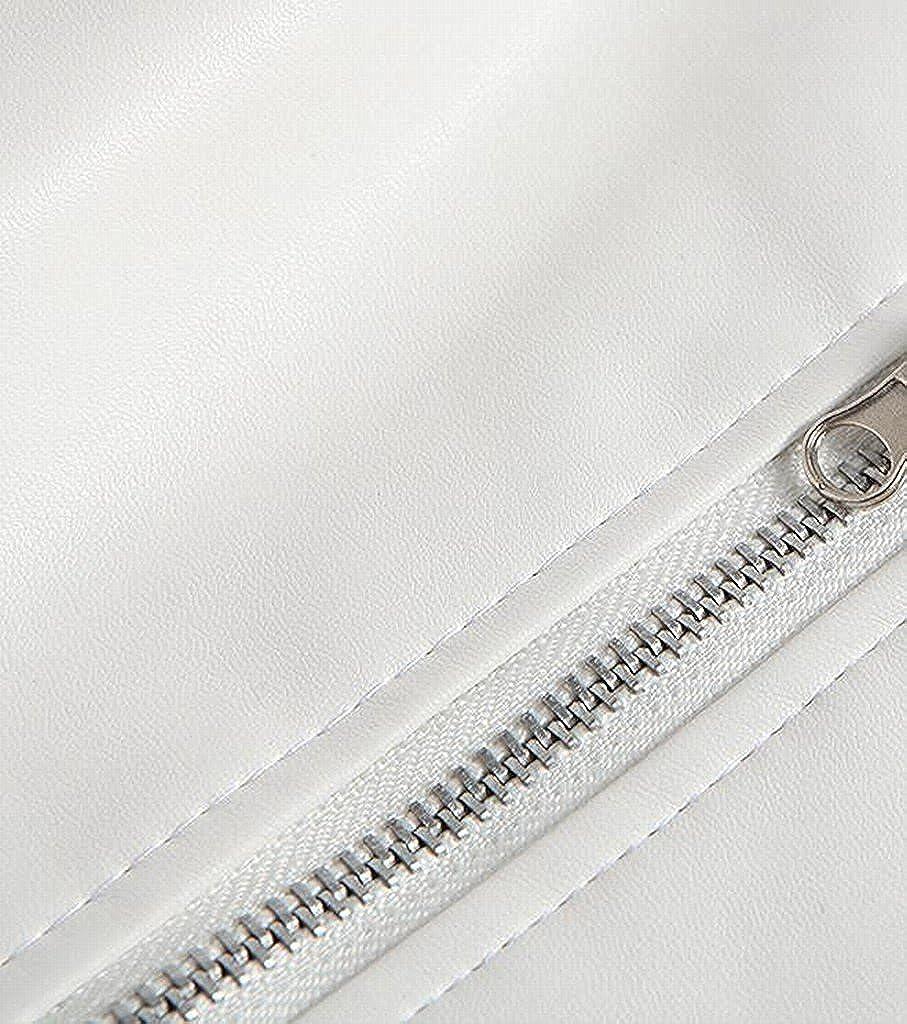 LOKOUO Mens Hisper Oblique Zipper PU Leather Belted Jacket Fashion