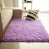 Bibabo25 - Tappeto a pelo lungo in tessuto felpato, antiscivolo, ideale per ilsoggiorno, morbido tappeto da collocare sul pavimento davanti alla porta, Poliestere, Purple, 60cm by 120cm