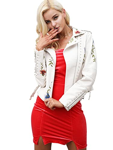 Simplee ropa punk bordado mujeres solapa Faux Leather Biker corta chaqueta Outwear