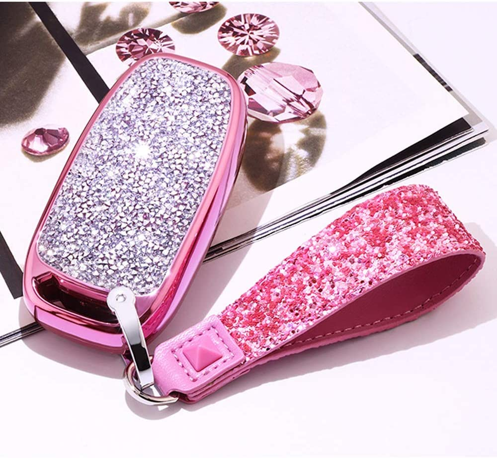3 Buttons 3D Bling Smart keyless Remote Key Fob case Cover for Audi A3 S3 RS3 A4 S4 RS4 A5 S5 RS5 A6 S6 RS6 A7 S7 RS7 A8 S8 Q3 SQ3 Q5 SQ5 Q7 TT TTs TT RS No Keychain, Pink