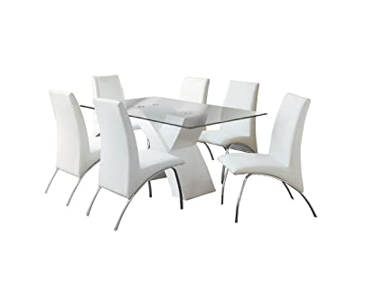Furniture Of America Rivendale 7 Piece Modern Dining Table Set With 12mm  Tempered Glass Top