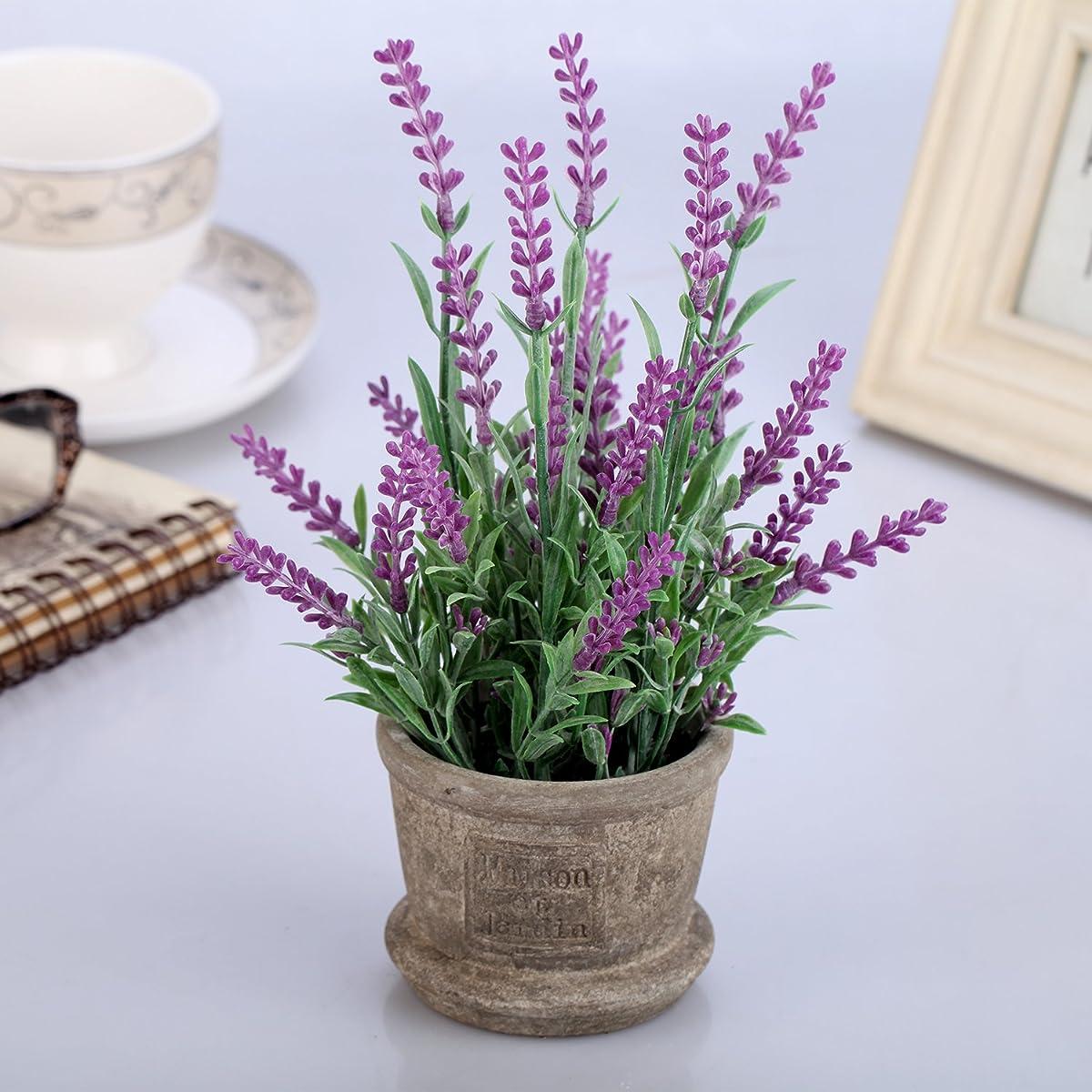 Louis Garden Set of 2 Artificial Plastic Mini Potted Plants Home Decoration (Lavender)