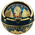 Exquisite Exotic Ashtray Ancient Egypet Egyptian Style Pyramid of Pharaoh Pattern Spherical Pattern Windproof Ashtray Home Office Decoration Perfect Business Gift (A1 Blue)