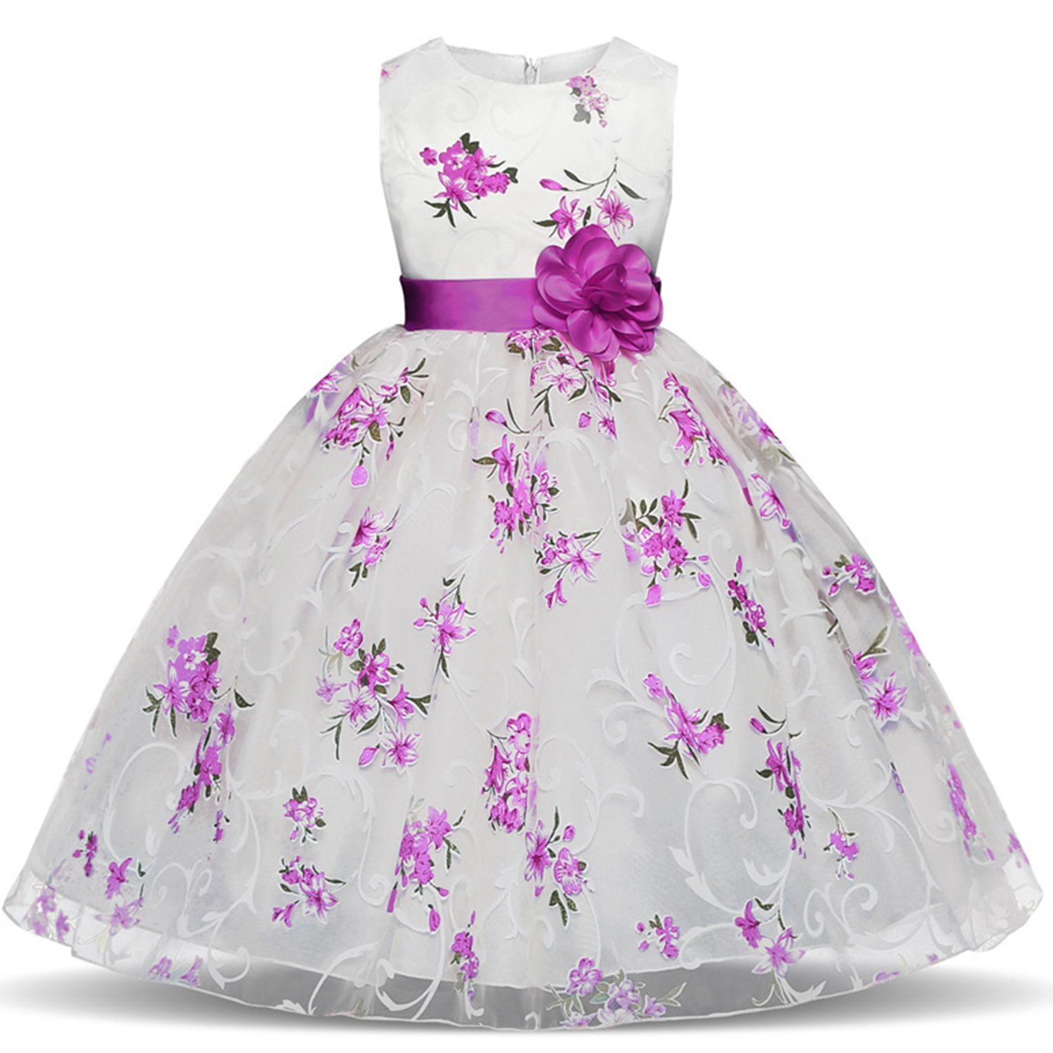 TTYAOVO Girls Flower Printing Chiffon Princess Wedding Party Holiday Dresses Size 6-7 Years Purple